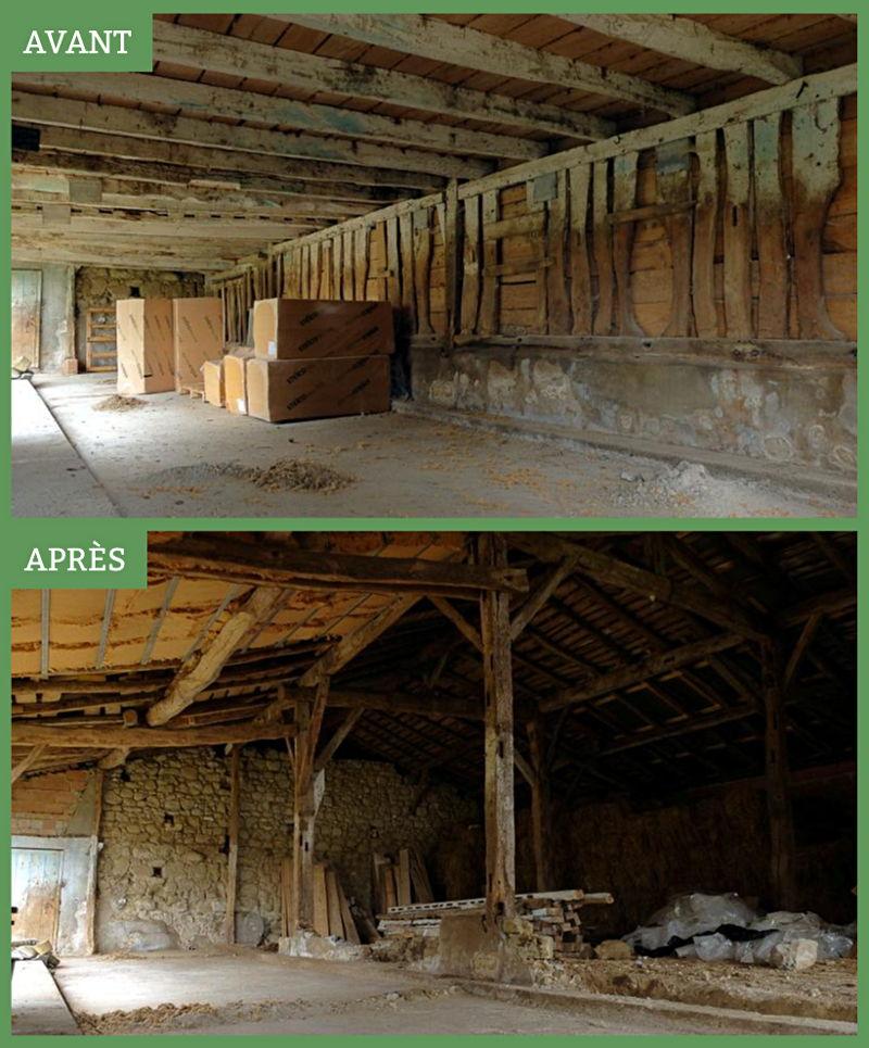 Rénovation grange avant/après - Ferme de Videau